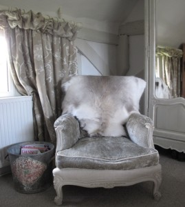 Reindeer Hide Draped Over Chair